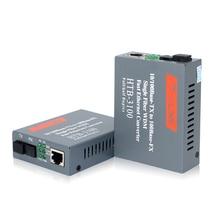 1 Pair HTB 3100AB 20KM AB 10/100Mbps Fiber Optical Media Converter Single Mode Single Fiber SC Port A 1310nm TX, B 1550nm TX