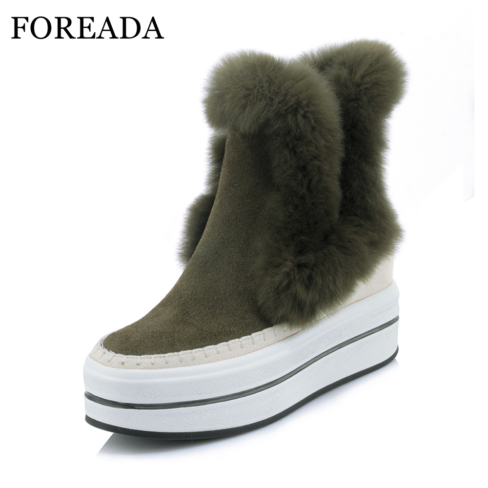 FOREADA Genuine Leather Winter Snow Boots Women Rabbit Fur Ankle Boots Platform Wedge Boots High Heels Warm Female Shoes 2018 11cm heels 2013 new winter high platform soled high heeled snow boots female side zipper rabbit fur thick heels snow shoes h1852