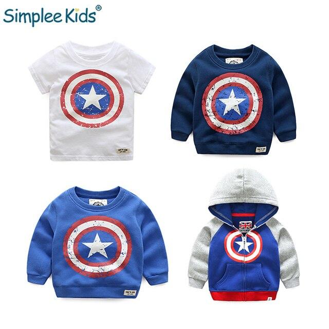 Simplee Kids Boys hooded T-shirt Captain America Pattern Long Sleeve Autumn Children Coat Student Wear Sportswear Clothes