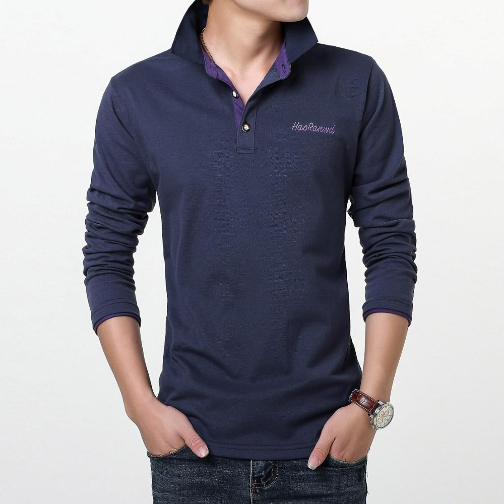 S-3XL Men Polo Shirt Mens Long Sleeve Solid Polo High Quality Men Cotton   Shirts Popular Casual Cotton Plus Size