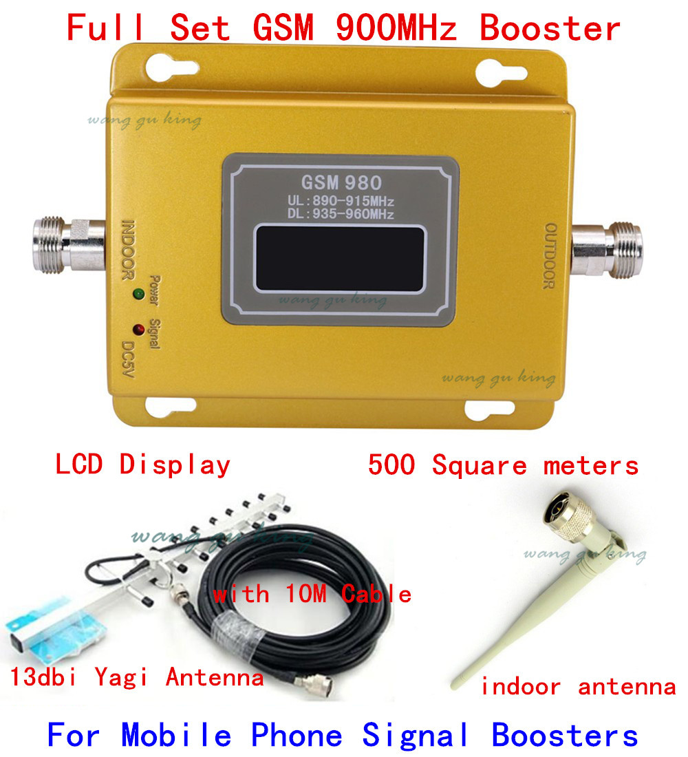 LCD Display ! Gsm Repeater 900 Mhz Gsm 980 Signal Booster ,cell Phone Signal Booster GSM Repeater Amplifier +13dbi Yagi Antenna