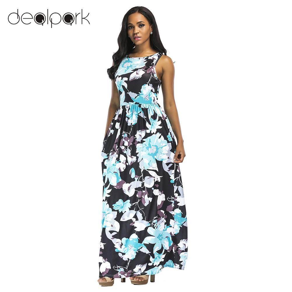 c1678e10bd Women Summer Dress Maxi Long Dress Floral Print Sleeveless Boho Beach Dress  Evening Party Dresses female