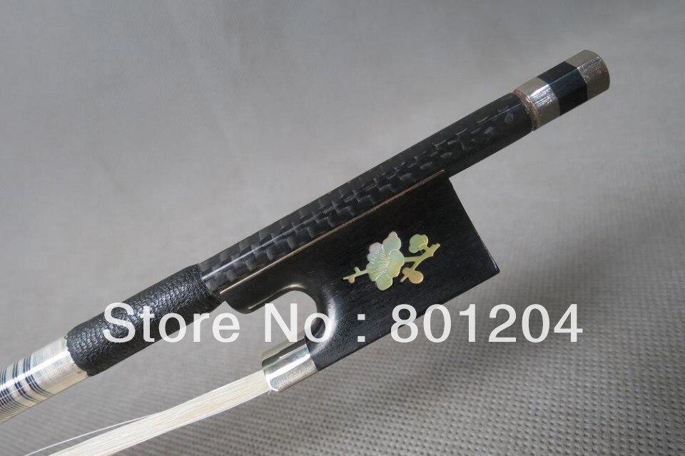 Wholesale 1Pcs Strong plaid Carbon fiber violin bow 4/4,Copper mounted violin carbon fiber bow master level gold mounted fpz021