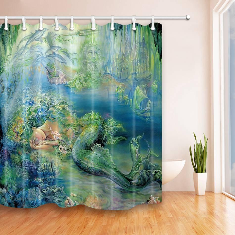 Mermaid bathroom accessories - Shower Curtain Sleeping Mermaid 3d Printing Waterproof Polyester Bath Curtain Bathroom Accessories Curtains Home Decoration