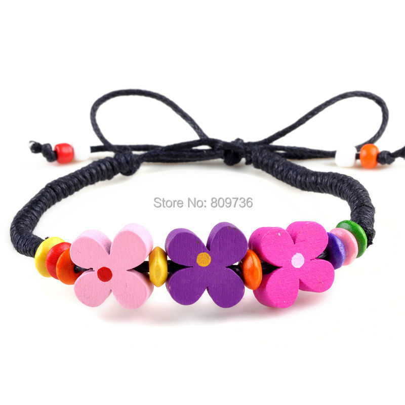 New 60pcs Multicolor Wood Flower Bracelets Lady Girl Wristband Bulk Charm Bracelets Wholesale Jewellery Lots