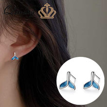 Silver Fish Tail Stud Earrings Women Ocean Blue Color Korean Statement Jewelry Cute Small Simple Bohemian Earrings Girls Gift(Hong Kong,China)