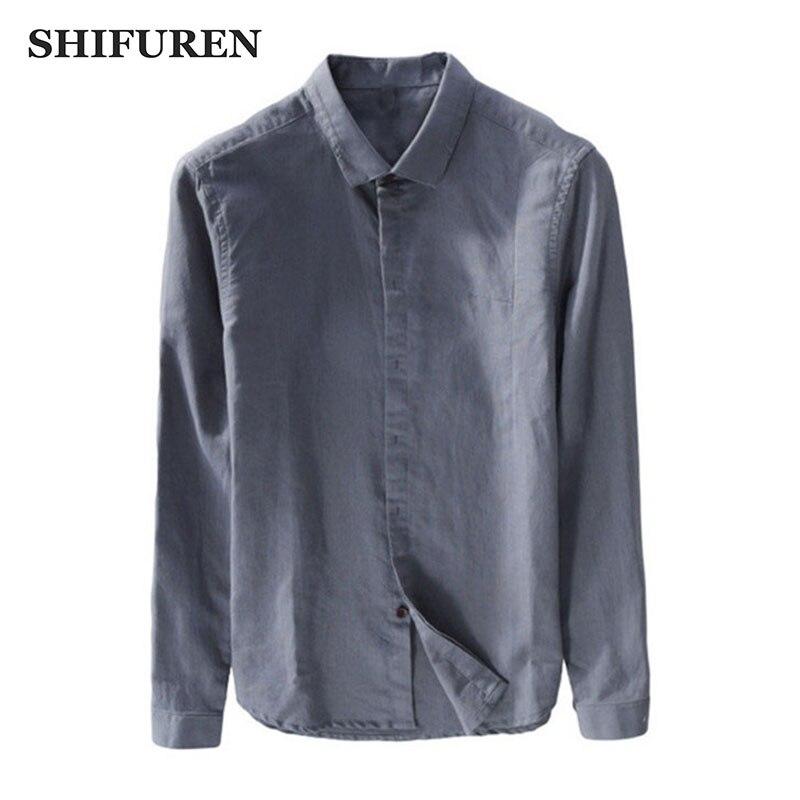 341d46107f4 ... tamaño M-XXL sólido color. Cheap SHIFUREN nueva primavera 2018 casual  camisas de lino hombres de algodón de manga larga cuello