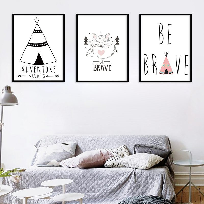 Modern Cartoon Quote Abstract Letter Minimalist Poster Nordic Canvas Painting Home Decor Wall Print Office K Bedroom Be Brave Painting Calligraphy Aliexpress