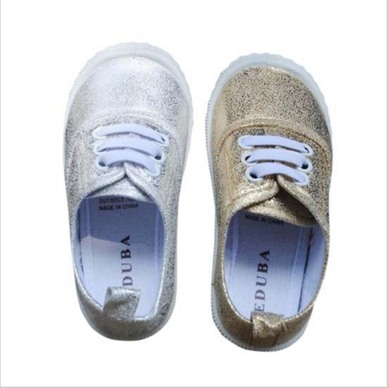 Brand New Girls Boy's Fashion Canvas Breathable Sneakers Shoe For Children Flats Heels Casual Shoes Golden/Silver Kids