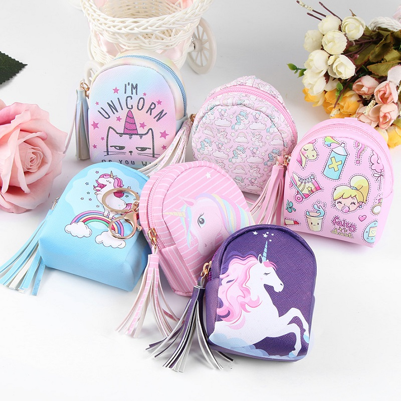 1 Pc Unicorn Bag Shaped Keychain Mini Coin Purse Zipper Small Handbag Decoration Keychain Pu Leather Bag Pendant Fashion Jewelry To Be Highly Praised And Appreciated By The Consuming Public