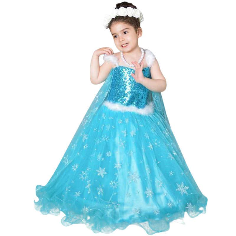 39d4a9a8a8 2018 Girls Summer Dress Kids ELSA White Cosplay Costume Baby Girl Princess  Dress Rapunzel Aurora Belle Dress Vestidos