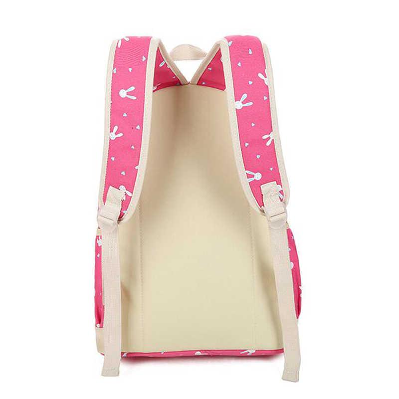 4 יח'\סט בד Shoolbags עבור בנות חמוד ארנב ילדים נשי הדפסת תרמילי ילקוטי נער בנות המוצ 'ילה תרמילי