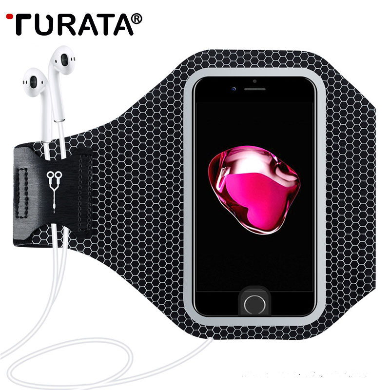 TURATA Arm Band Ultrlia Sports Running Case For iPhone 8 7 6 6S Plus Universal Touch Screen Cover Reflective Holder Pouch