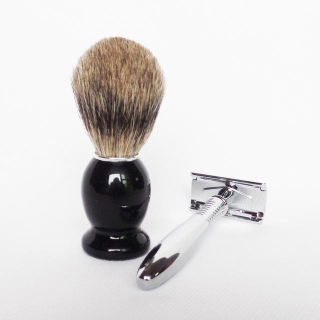 2pc/set Badger Shaving Brush with Stainless Shaving Safety Razor for Man's Beard Care