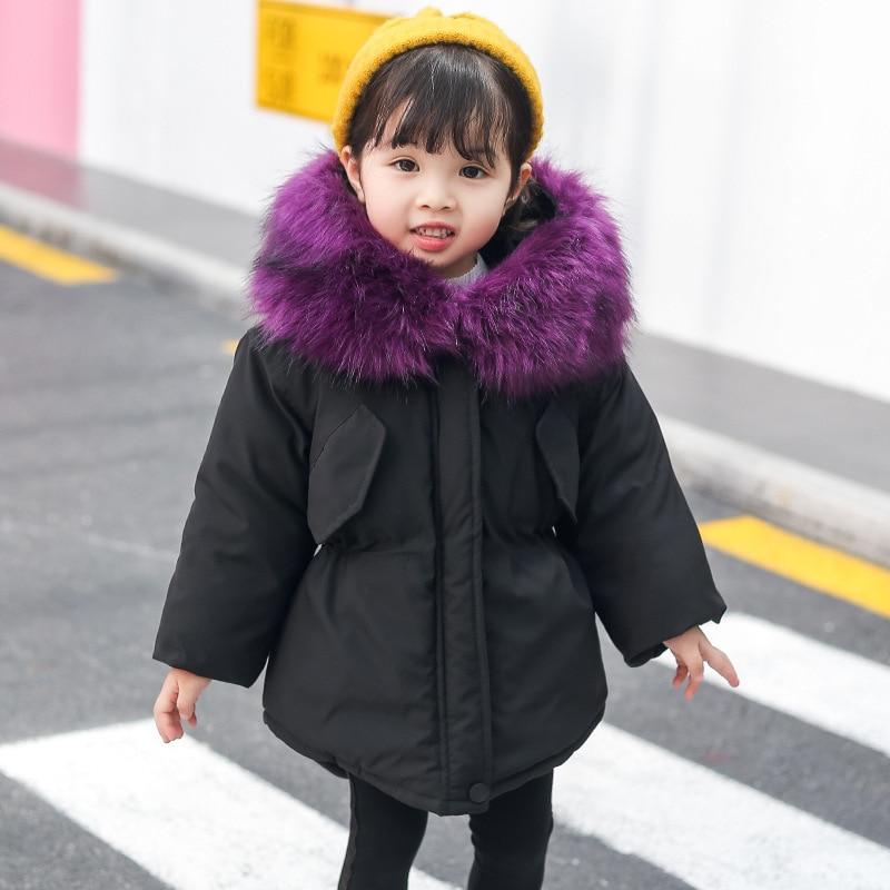 418ff0de1 2018 New Jackets Girls Winter Thick Coat Cotton Padded Big Fur ...