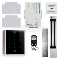DIYSECUR 125KHz RFID Reader Password Keypad + 280kg Magnetic Lock + Remote Control Access Control System Security Kit