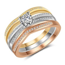 Silver 925 jewelry Emerald diamond ring Silver 925 ring gold rings Three-piece micro-drilled zircon tricolor Rose gold B1520 thailand imports 925 silver gold virgin silver ring