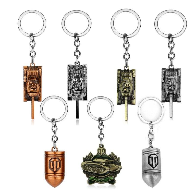 цена на Games Jewelry World of Tanks WOT Bullet Tank Keychain Key Holder for Car Key Bags Keyrings Men Boys souvenir