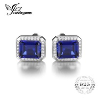 9ct Sapphire Wedding Cufflinks For Men Solid 925 Sterling Sliver Fashionable Luxury Gem Stone Jewelry