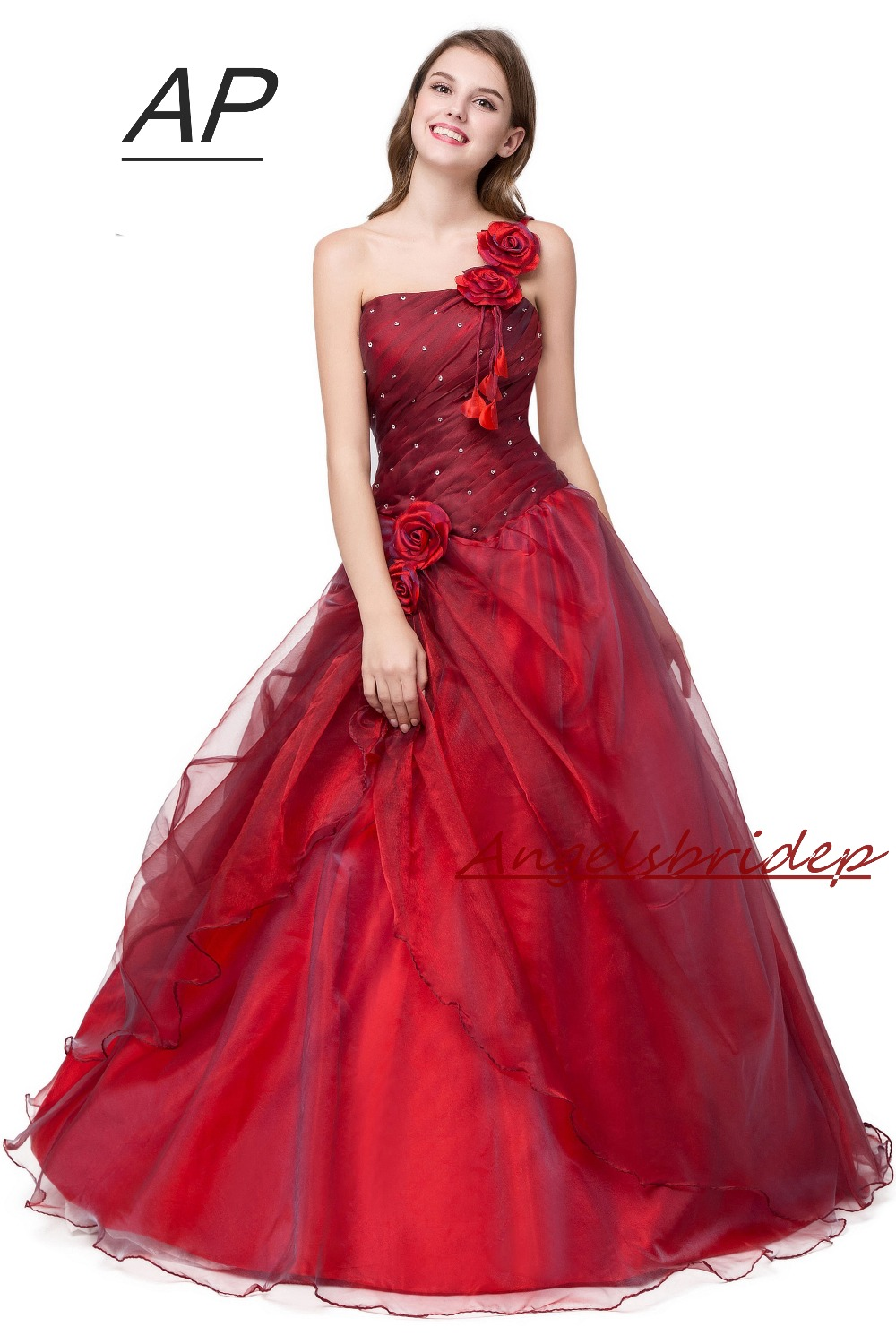 ANGELSBRIDEP Quinceanera Dress Red Vestidos De 15 Anos Sexy One Shoulder Masquerade Ball Gowns Formal Party