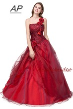 ANGELSBRIDEP Quinceanera שמלה אדום Vestidos דה 15 Anos סקסי אחת כתף נשף מסכות שמלות צד פורמלי שמלות 2020 מכירה לוהטת