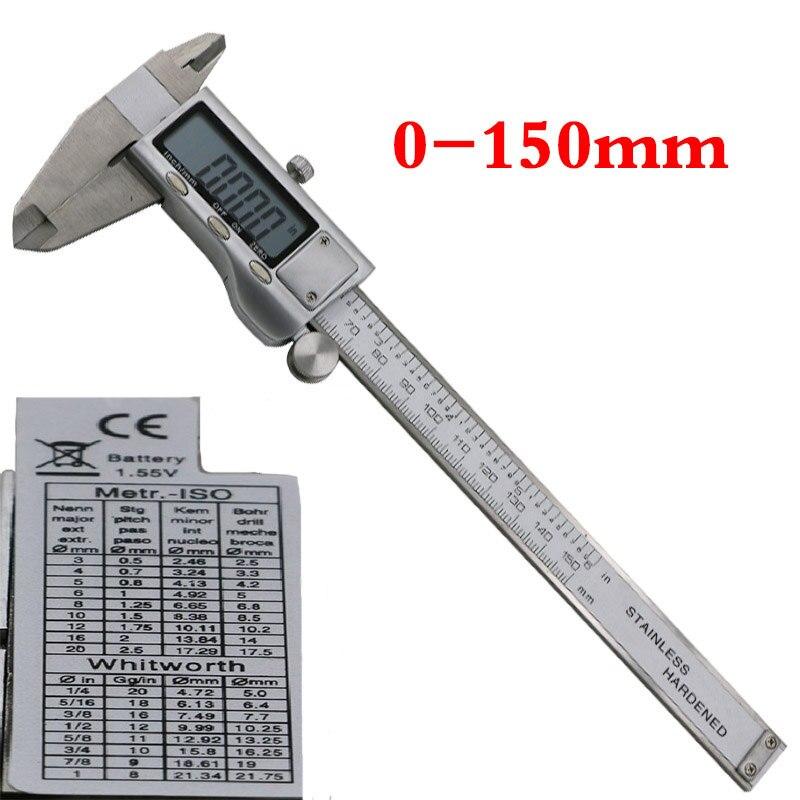 2017 Tempo-limitado Venda Quente Digital Compassos Vernier Eletrônico Micrômetro Paquímetro De Metal polegadas 150mm de Aço Inoxidável Medindo