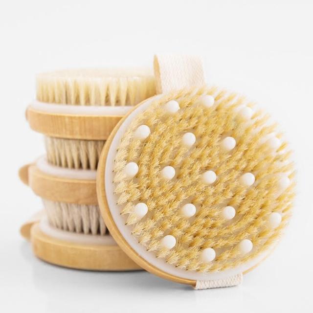 Body massage bath brush wooden bristle bath brush  Scrub Skin Massage Shower Body Round Head Bath Brushes Bathroom Accessories 1