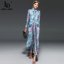 9685710e9c LD LINDA DELLA 2018 Runway Projektant Maxi Sukienki damskie Z Długim  rękawem Elegancki Vintage Floral Print Loose Popędzający Dł..