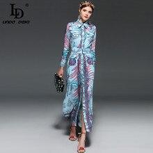 LD LINDA DELLA New 2018 Runway Brand Maxi Dress Women's Long sleeve Elegant Belt Vintage Floral Print Long Dress