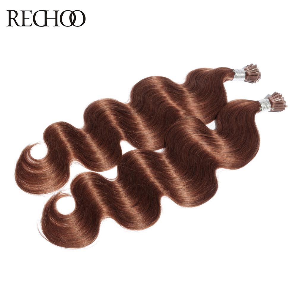 Rechoo Non Remy 1g pcs Fusion Hair Extensions Pre Bonded Keratin Hair I Tip 16 18