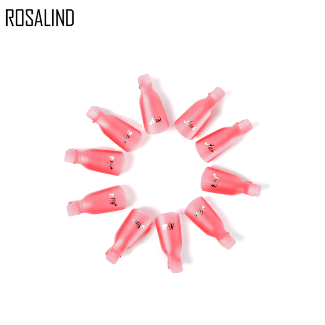 Rosalind 10PCS/lot Nail Art Tool Acrylic UV Gel Nail Polish Remover Soaker Clip Cap Wrap