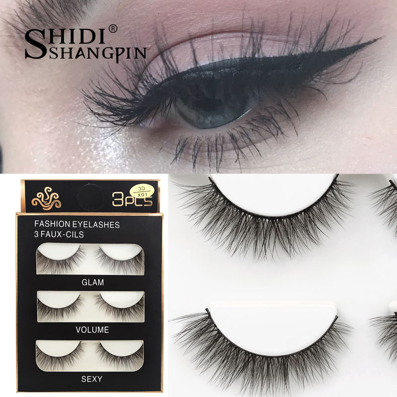 HTB1NCguXUvrK1RjSspcq6zzSXXaB SHIDISHANGPIN 3 pairs mink eyelashes natural fake eye lashes make up handmade 3d mink lashes false lash volume eyelash extension