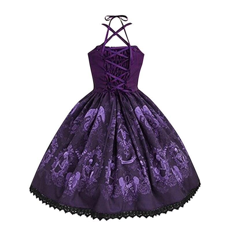 Skull Print Dress For Women Punk Style Summer Dress Strap Hepburn Dress Big Swing Party Dress Large Vestido De Festa 40JUN51