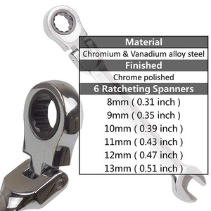 Image 3 - Flexible Ratchet Action Wrench Spanner Nut Tool Head Ratchet Metric Spanner Open End and Ring Wrenches Tool Size 8mm 13mm