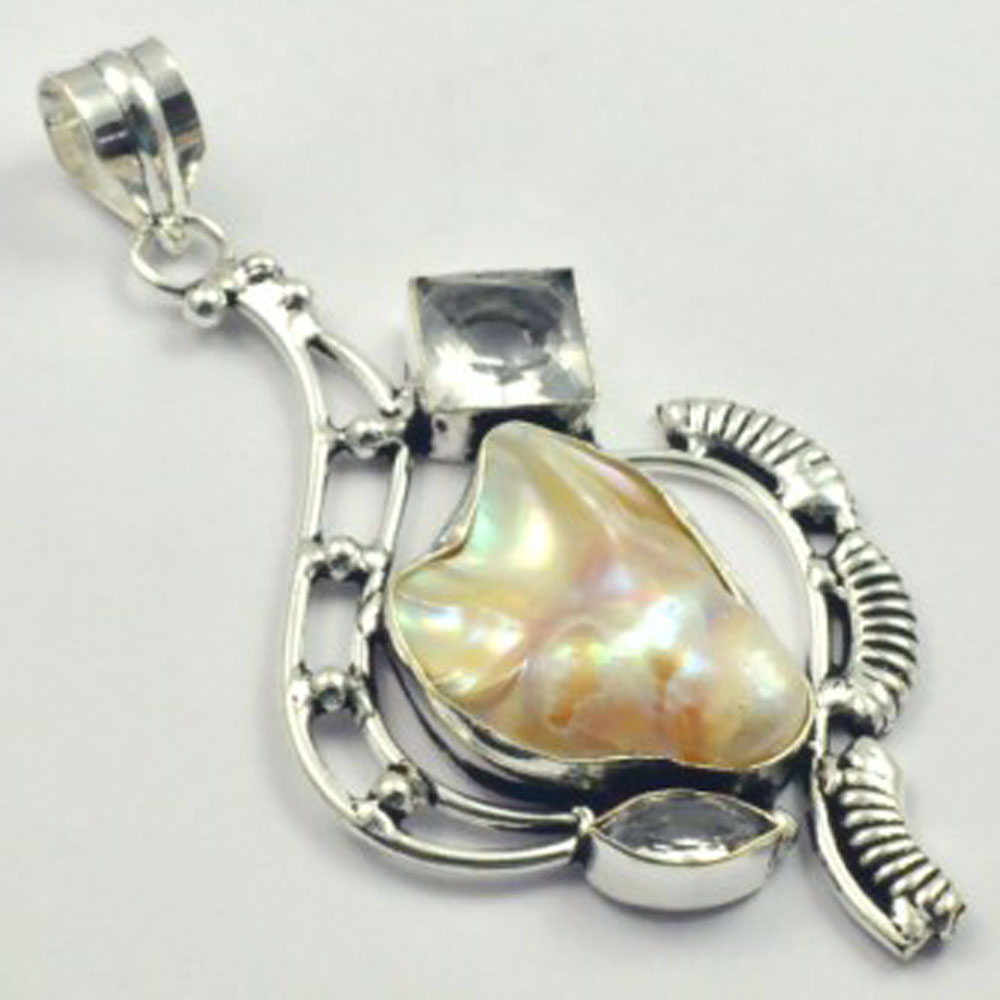 White Topas Biwa Pearls Pendant Silver Overlay over Copper 80mm P5040 in Pendants from Jewelry Accessories