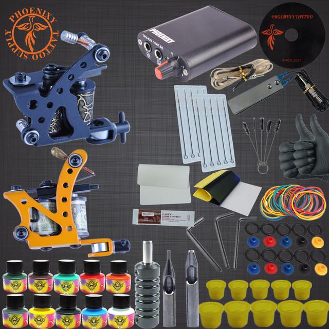 Kit de tatuaje 2 Pistola Eléctrica 20 Colores Negro Tinta Del Tatuaje Conjunto de fuente de Alimentación Apretones de Las Agujas de Maquillaje Permanente Suministros Kits de tatuaje