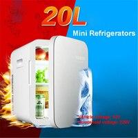 Fresco e calor multifunções mini geladeira carro portátil 12 v 20l auto viagem geladeira qualidade abs casa refrigerador congelador aquecedor