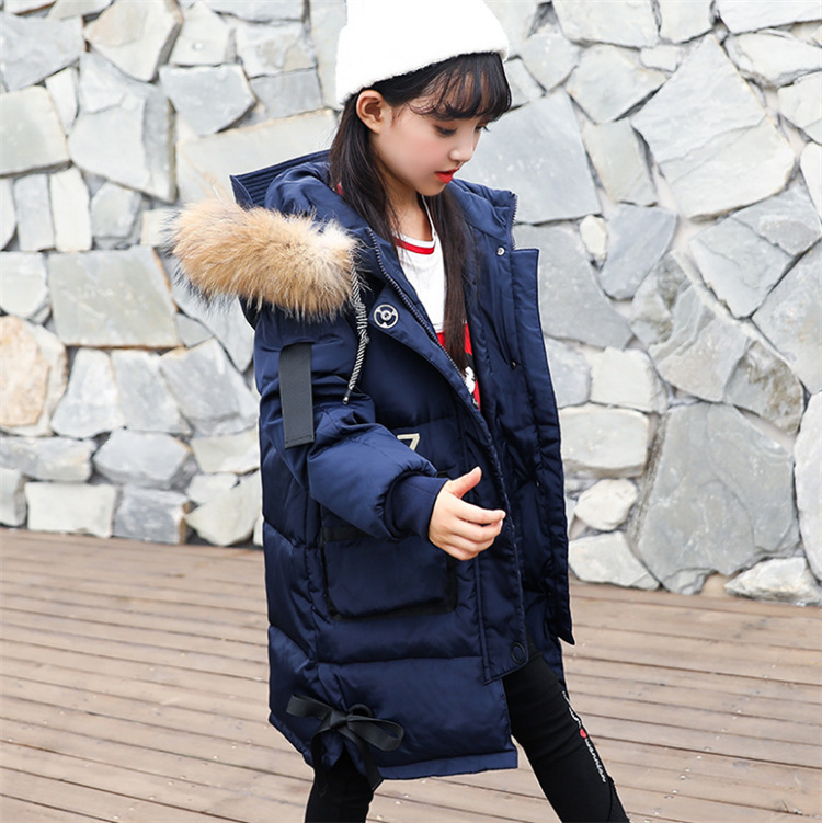 Girl 2017 new long thickening down jacket winter for size 6 7 8 9 10 11 12 13 14 years child Korean casual hooded outerwear coat baby boy and girl 2017 new korean thick down jacket winter for size 1 2 3 4 years child long coat kid tide casual outerwear