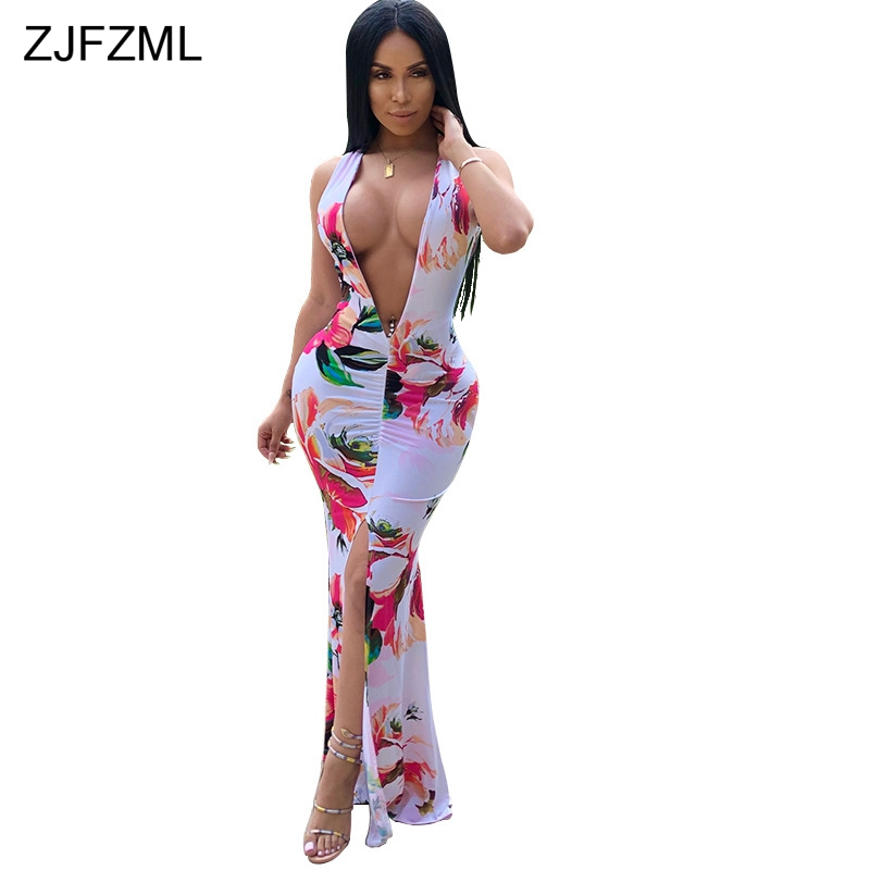 ZJFZML Front High Split Sexy Mermaid Dress Women Deep V Neck Floral Print Bandage Robe Summer Sleeveless Ruched Party Club Dress