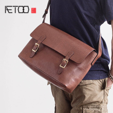 AETOO Quality thick cowhide All copper hardware imported leather man oblique carry postman bag