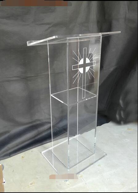 Cheap Transparent Acrylic Podium Pulpit Lectern, Clear Plexiglass Podium, Organic Glass Church Pulpit