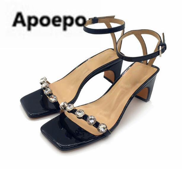 Apoepo 2018 newest brand ladies shoes black sexy Narrow Band women sandals luxury crystal high heels sandals summer buckle shoes apoepo brand black luxury diamond sandals women sexy pointed toe string bead ladies shoes summer high heels sandals shoes 2018