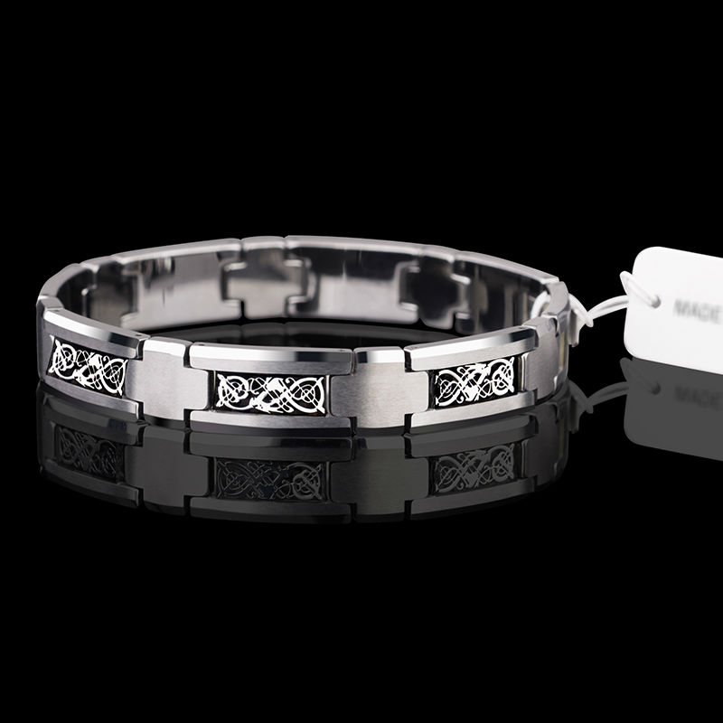2017 New Fashion Saya Brand High Polished Man s Tungsten Carbide Bracelet Inlay Dragon Patterns 20CM