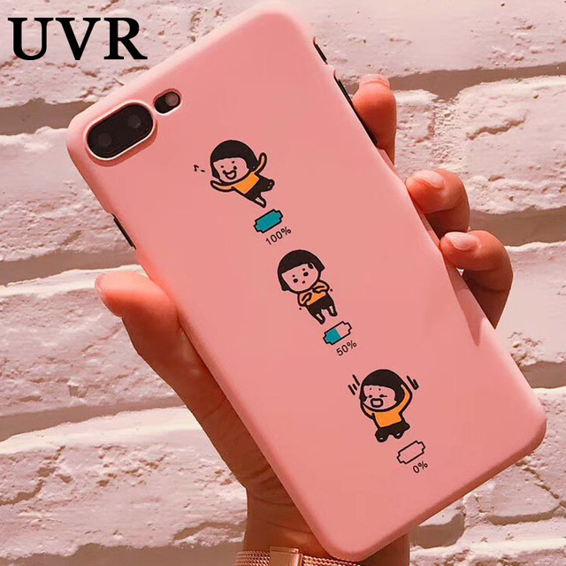 88c830506e9 UVR Funny Cute Happy Cry Little Girl Pink Case Cover Carcasa Funda Coque  for iPhone 5S 5 6 6S 7 Plus Coque Matte Hard Back Shell