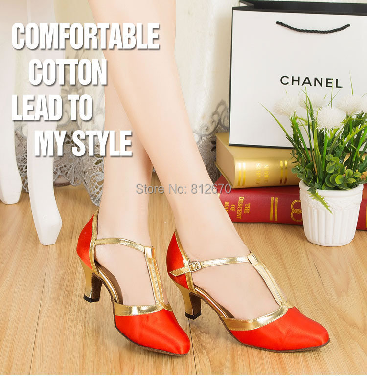 T-belt  red-gold satin comfortable modern shoes dancing shoes for women Autumn and winter Ballroom Dancing Shoe XC-6386