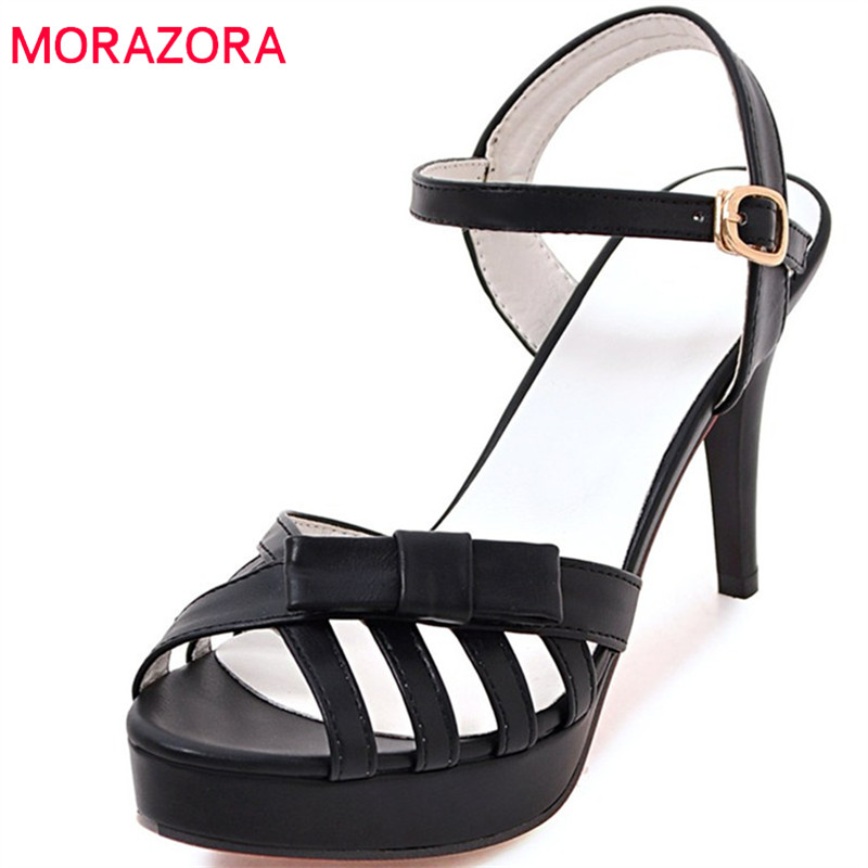 MORAZORA 2018 new arrive women sandals summer sexy thin heels classic peep toe dress shoes simple buckle high heels shoes 2016 summer peep toe thin thick high heels pumps with platform rhinestones buckle sandals women pu pink white blue sexy shoes