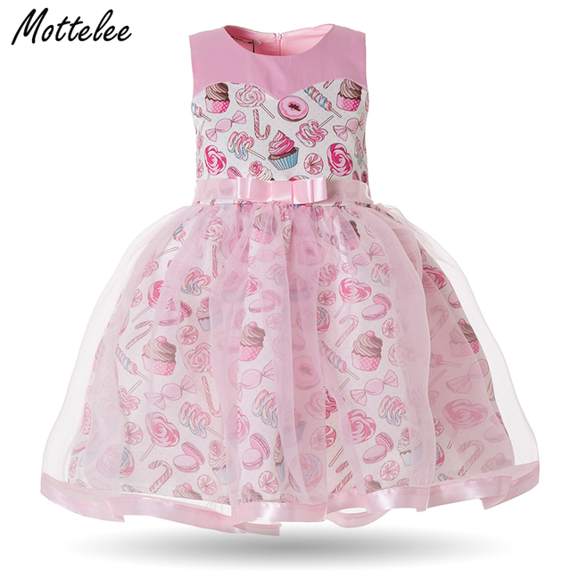 Girls Princess Dress Candy Print Birthday Wedding Party Pink Baby ...