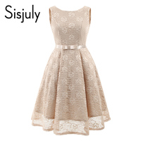 Sisjuly 1950s Women Vintage Dress Lace Bowknot O Neck Lace Up Sleeveless Women A Line Dress