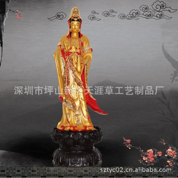 Shenzhen usine en gros résine ornements Guanyin bouddha debout 110 centimètres doré ornements Nanhai Guanyin