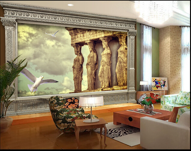 Custom 3 d wallpaper, ancient architecture stone murals for the sitting room the bedroom TV setting wall vinyl wallpaper custom wallpaper for walls 3 d ancient rome statue to the sitting room the bedroom tv setting wall waterproof pvc wallpaper